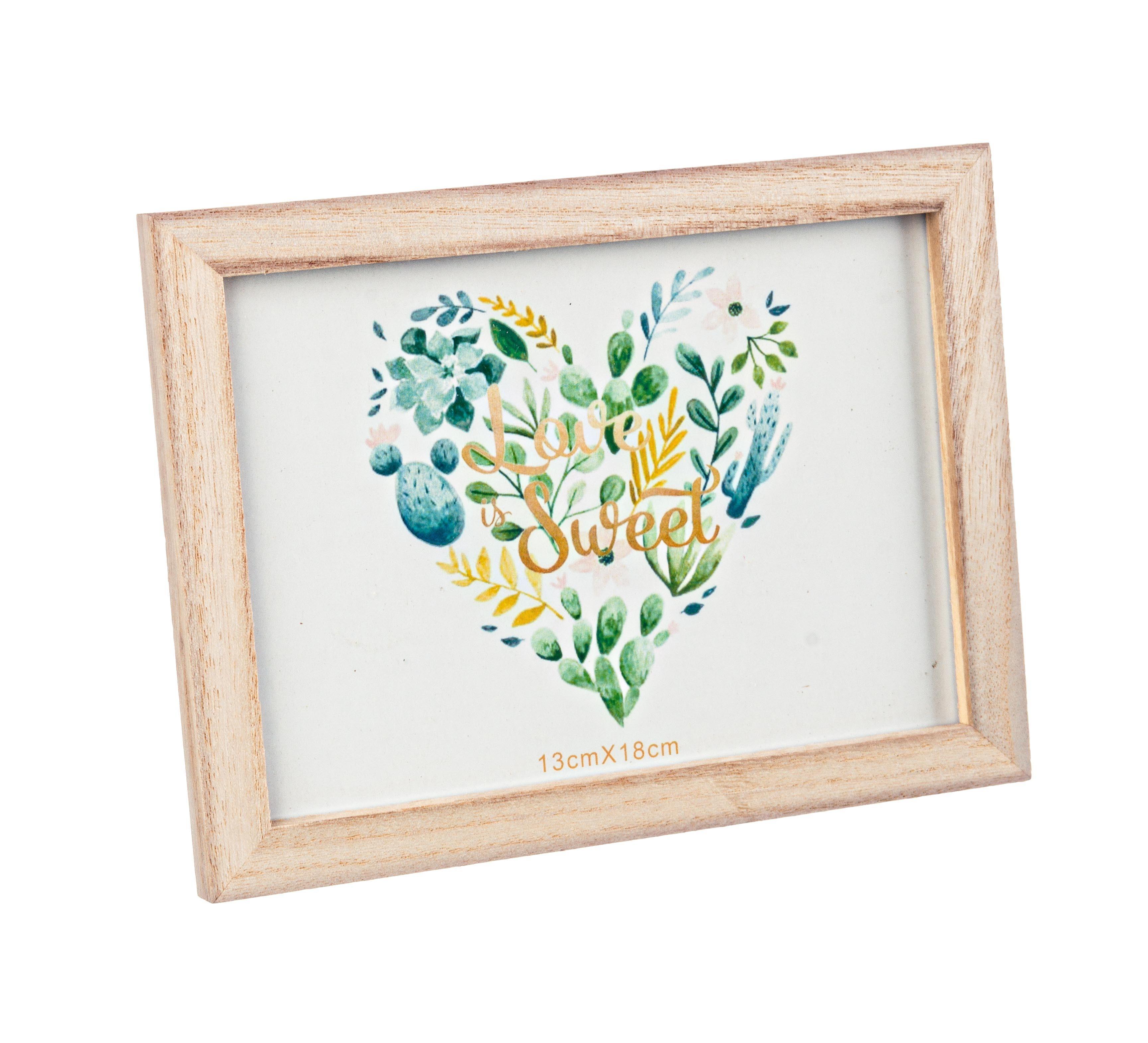 Rama foto decorativa din MDF si lemn Minimal II Natural, 20 x 15 cm
