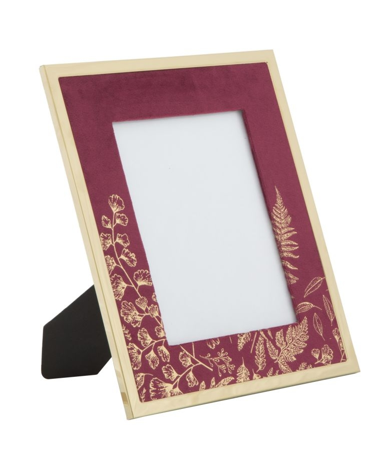 Rama foto decorativa din MDF si metal Glam Small Bordeaux / Auriu 24 x 29 cm