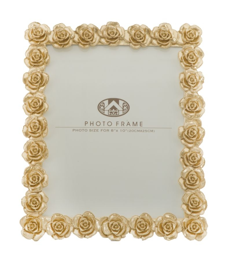 Rama foto decorativa din rasina Glam Roses Alb / Auriu, 25,5 x 31 cm