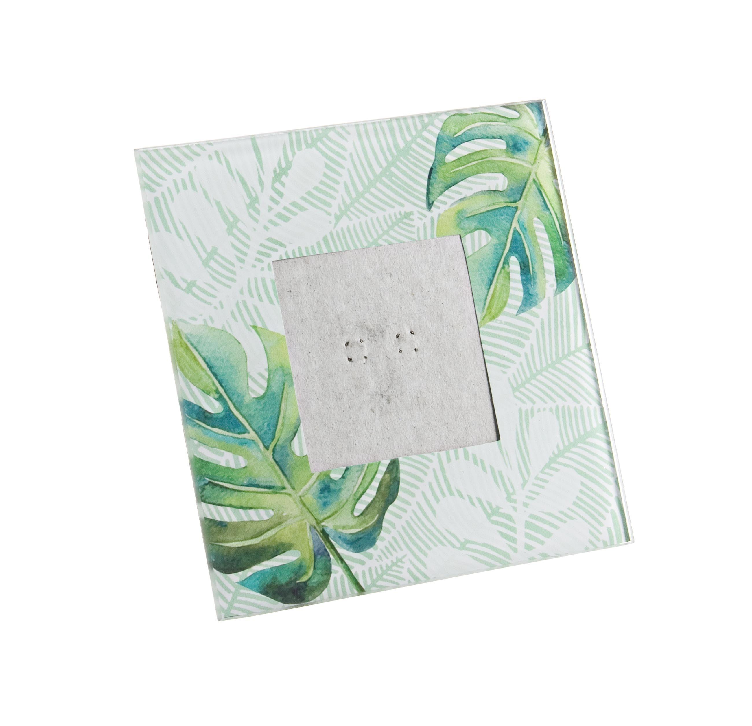 Rama foto decorativa din sticla Leaf Verde / Alb, 15 x 15 cm