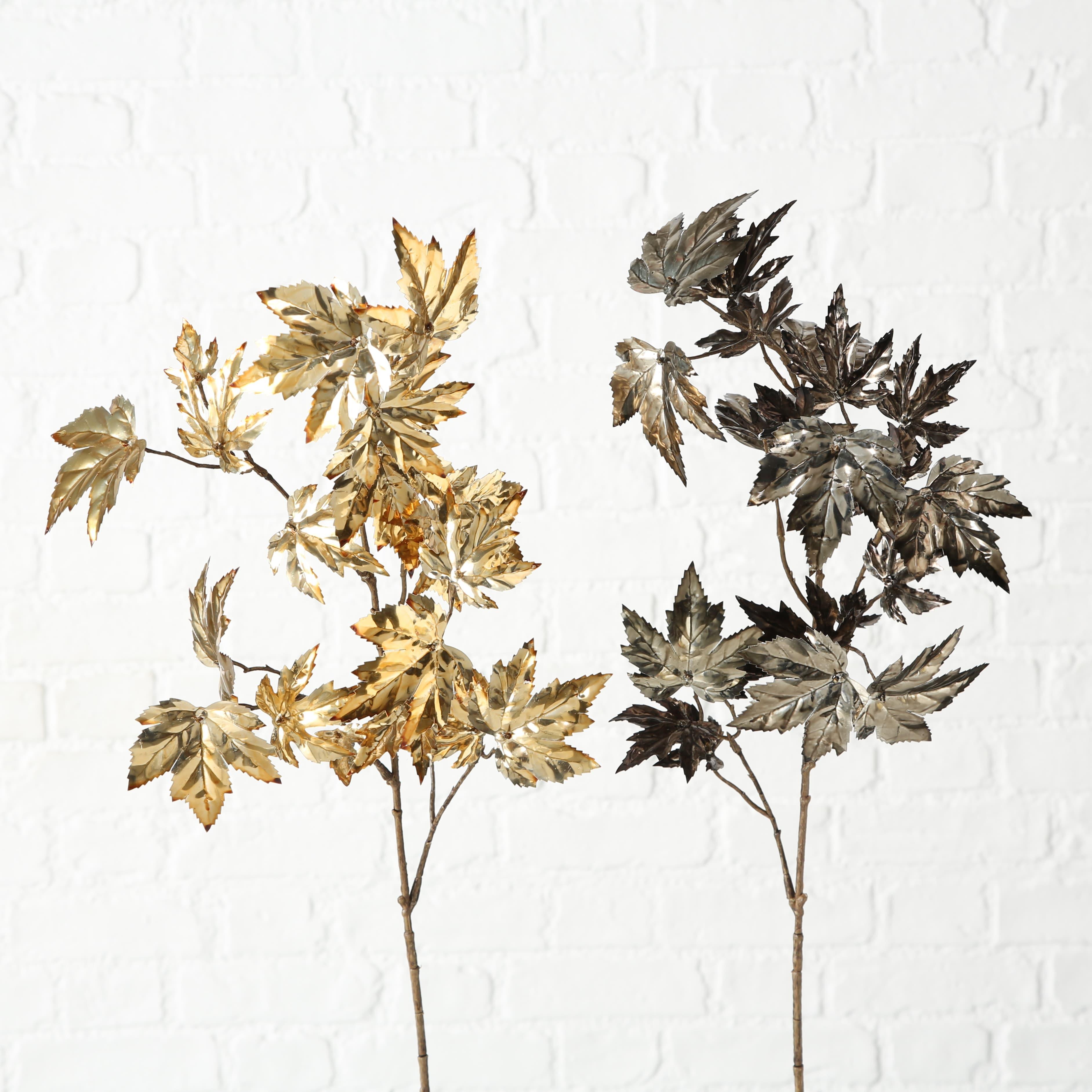 Ramura decorativa artificiala Maple Auriu / Maro, Modele Asortate, H94 cm imagine
