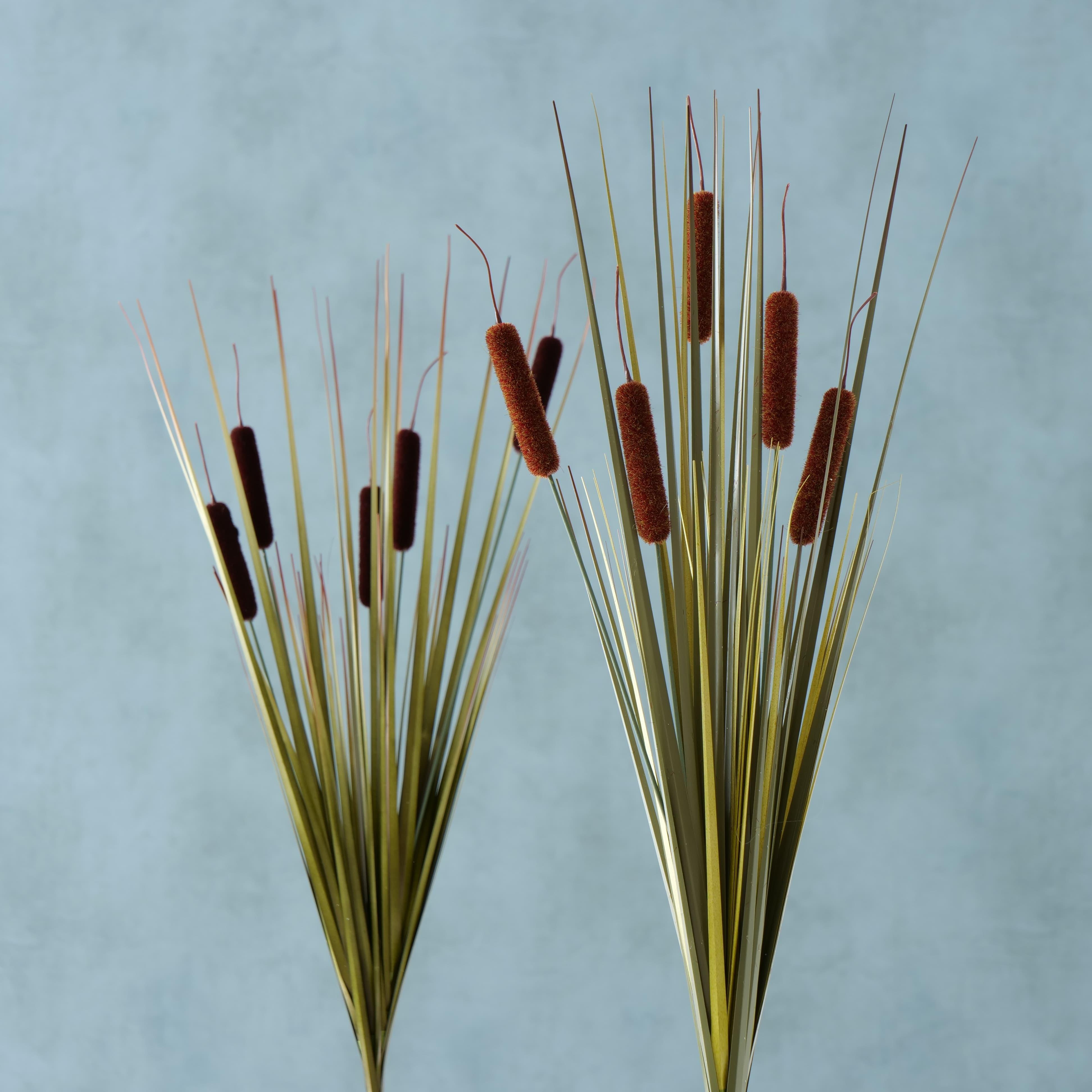 Ramura decorativa artificiala Reeds Maro / Verde, Modele Asortate, H63 cm