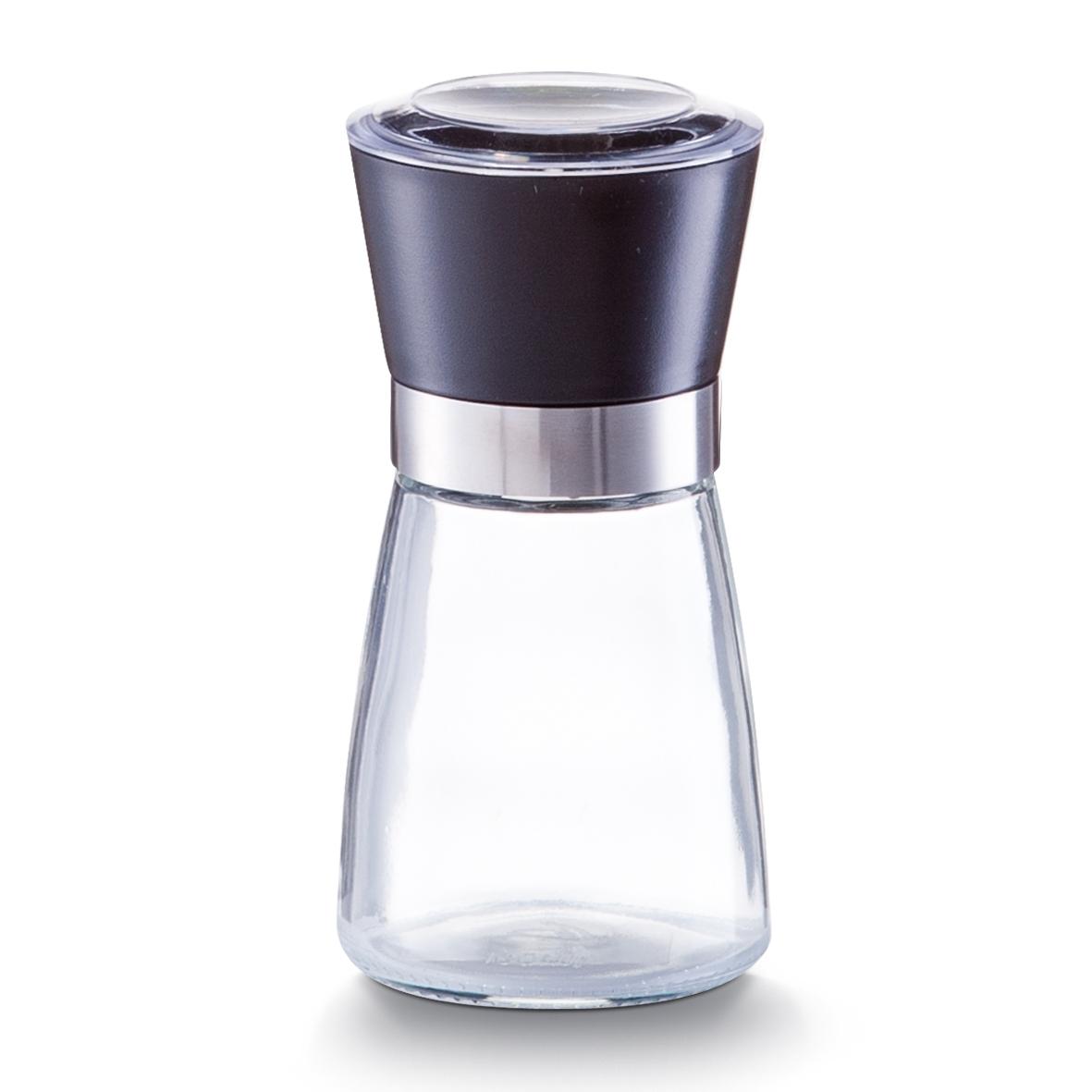 Rasnita sare / piper din sticla si plastic, Small Black Ø 6,5xH13,6 cm