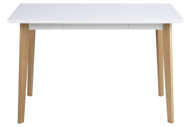 Masa de birou din MDF si lemn Raven White/Natural, L117xl58xh75,5 cm