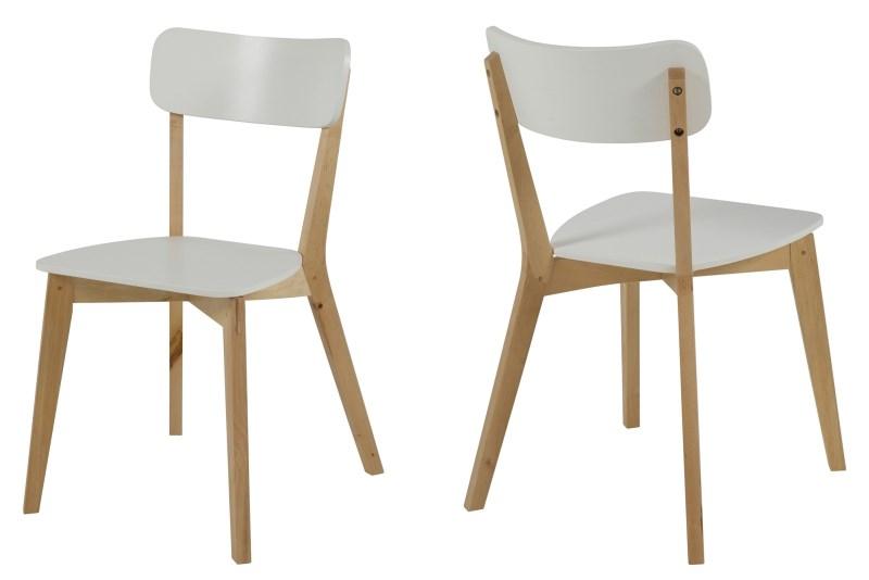 Set 2 scaune din lemn si MDF Raven White/Natural