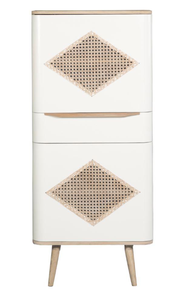 Cabinet din lemn cu 1 sertar si 2 usi Canne Retro Natural / White l60xA40xH135 cm