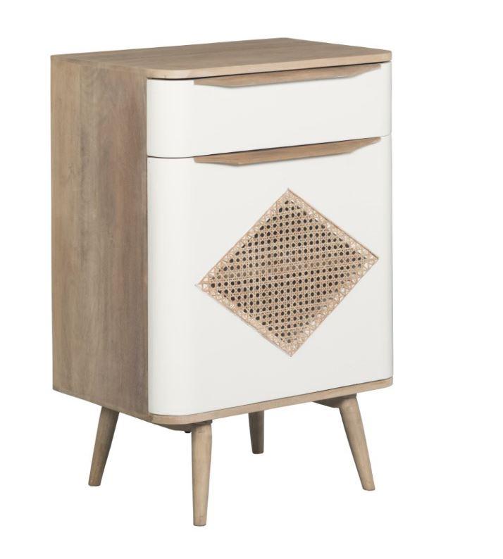 Cabinet din lemn cu 1 sertar si 1 usa Canne Retro II Natural / White l60xA40xH88 cm