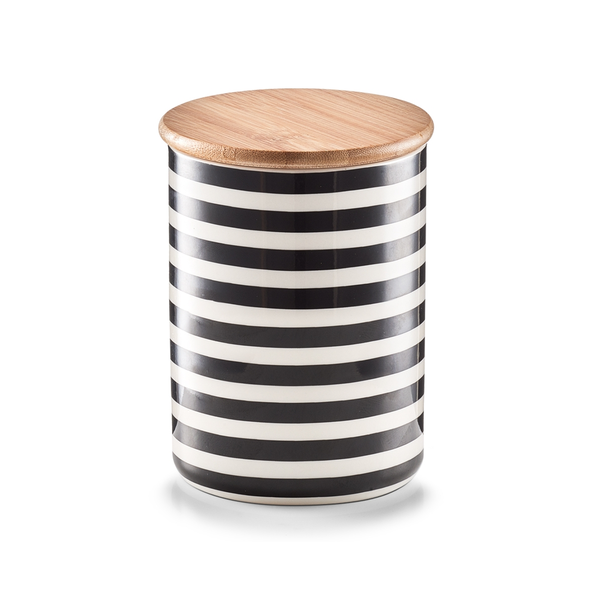 Recipient ceramic pentru depozitare Stripes, capac din bambus, Black/White, 580 ml, Ø 10xH13 cm imagine