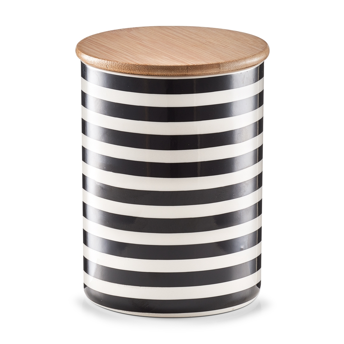 Recipient ceramic pentru depozitare Stripes, capac din bambus, Black/White, 900 ml, Ø 11,5xH15 cm imagine