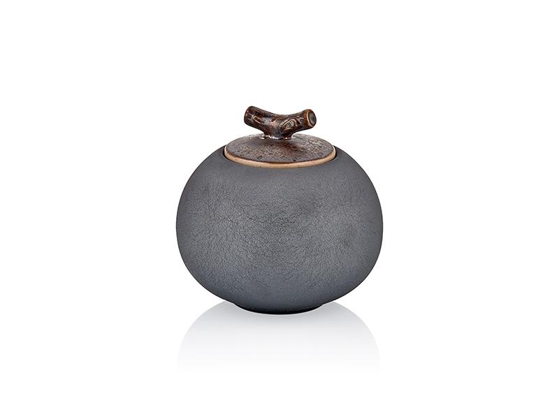 Recipient decorativ din ceramica pentru depozitare Diamond Small Antracit, Ø11xH11 cm