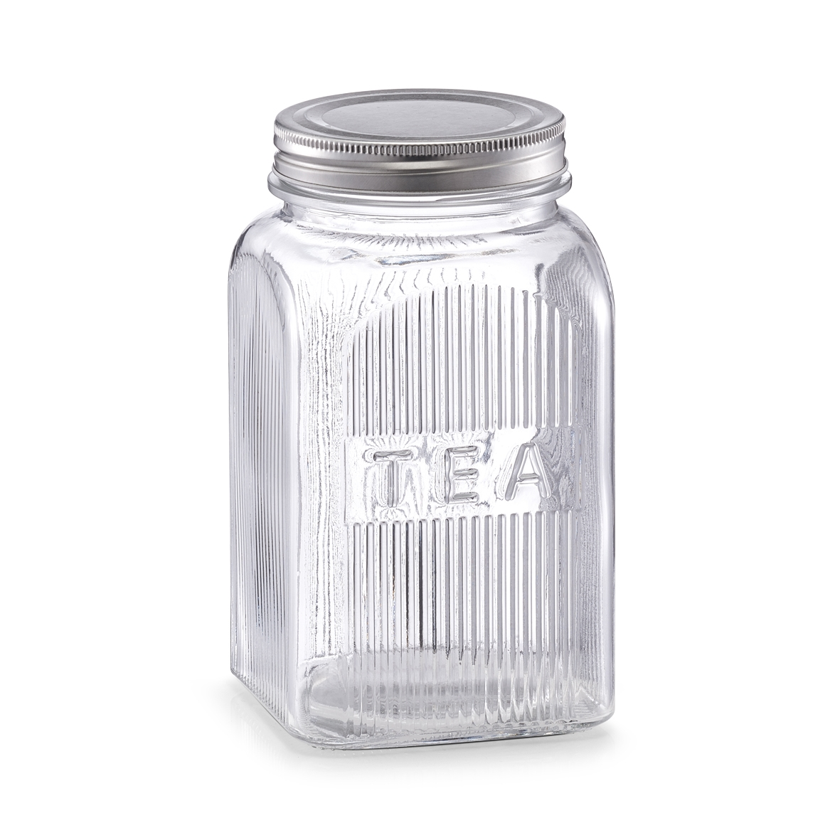 Recipient din sticla pentru ceai Tea, capac metalic, 1150 ml, l10xA10xH18 cm imagine