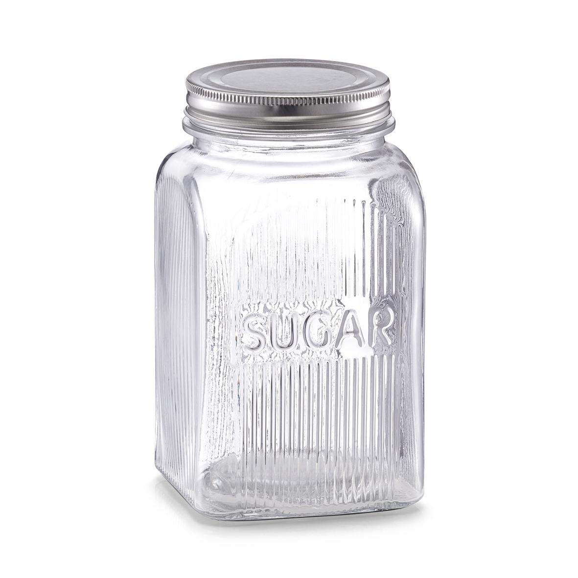 Recipient din sticla pentru zahar Sugar, capac metalic, 1150 ml, l10xA10xH18 cm