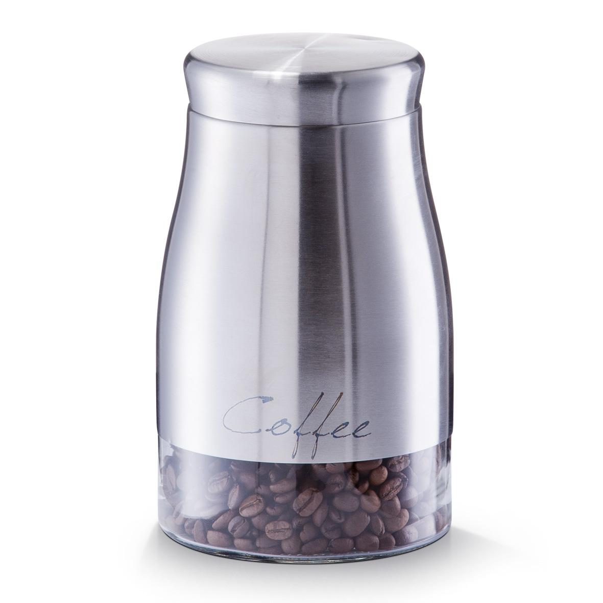 Recipient pentru cafea din sticla si inox Coffee, Silver 1300 ml, Ø 11,5xH19 cm imagine