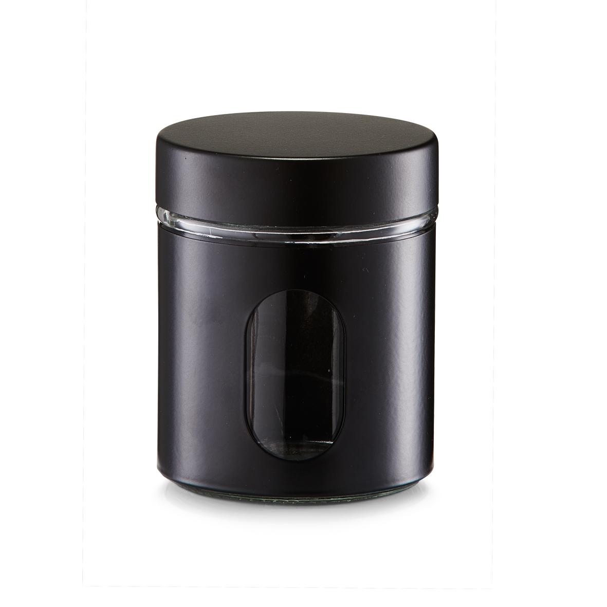 Recipient pentru depozitare Visual II, metal si sticla, Black 600 ml, Ø 10,2xH12,5 cm imagine