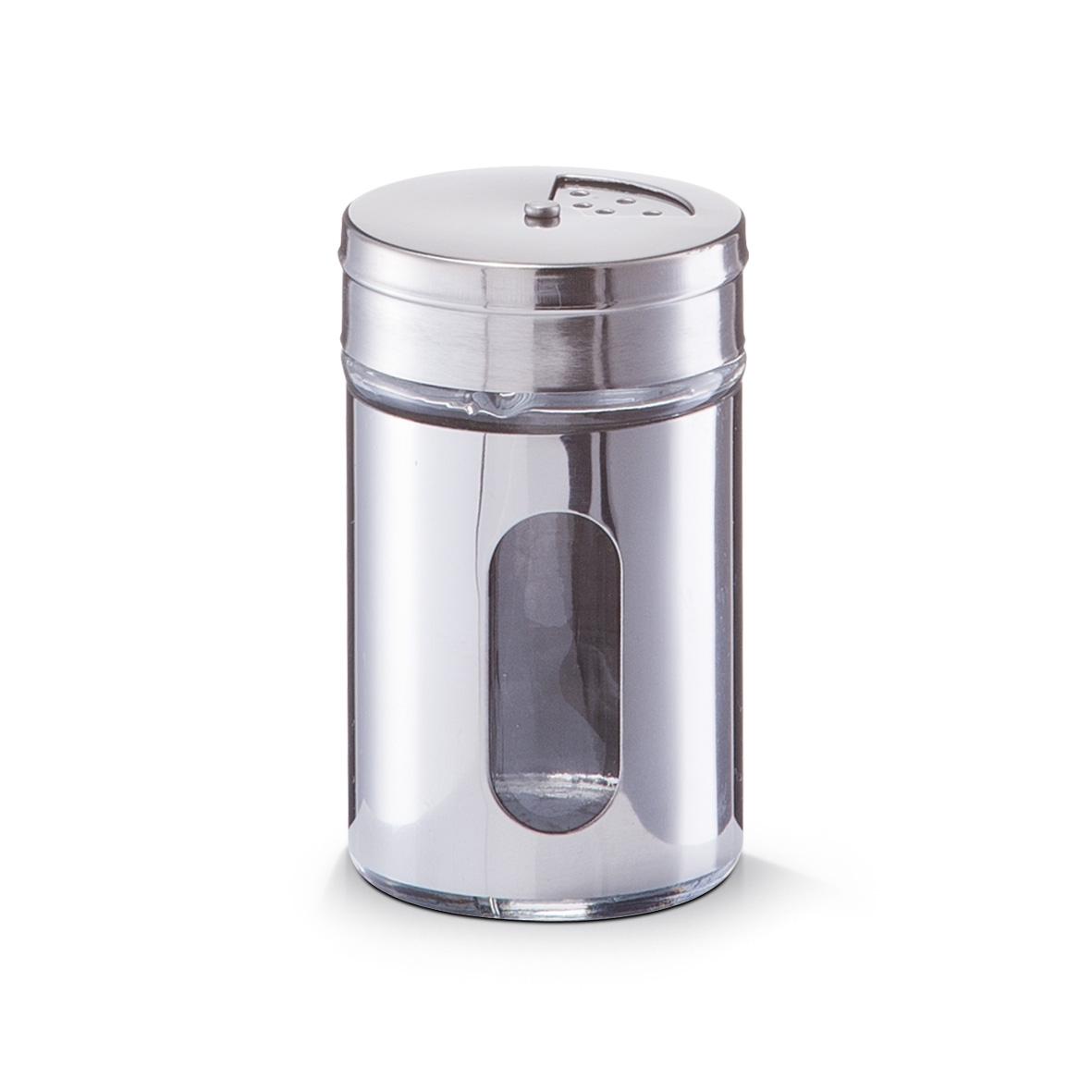 Recipient pentru condimente Visual, inox si sticla, Silver 80 ml, Ø 5xH8,5 cm( 473467)