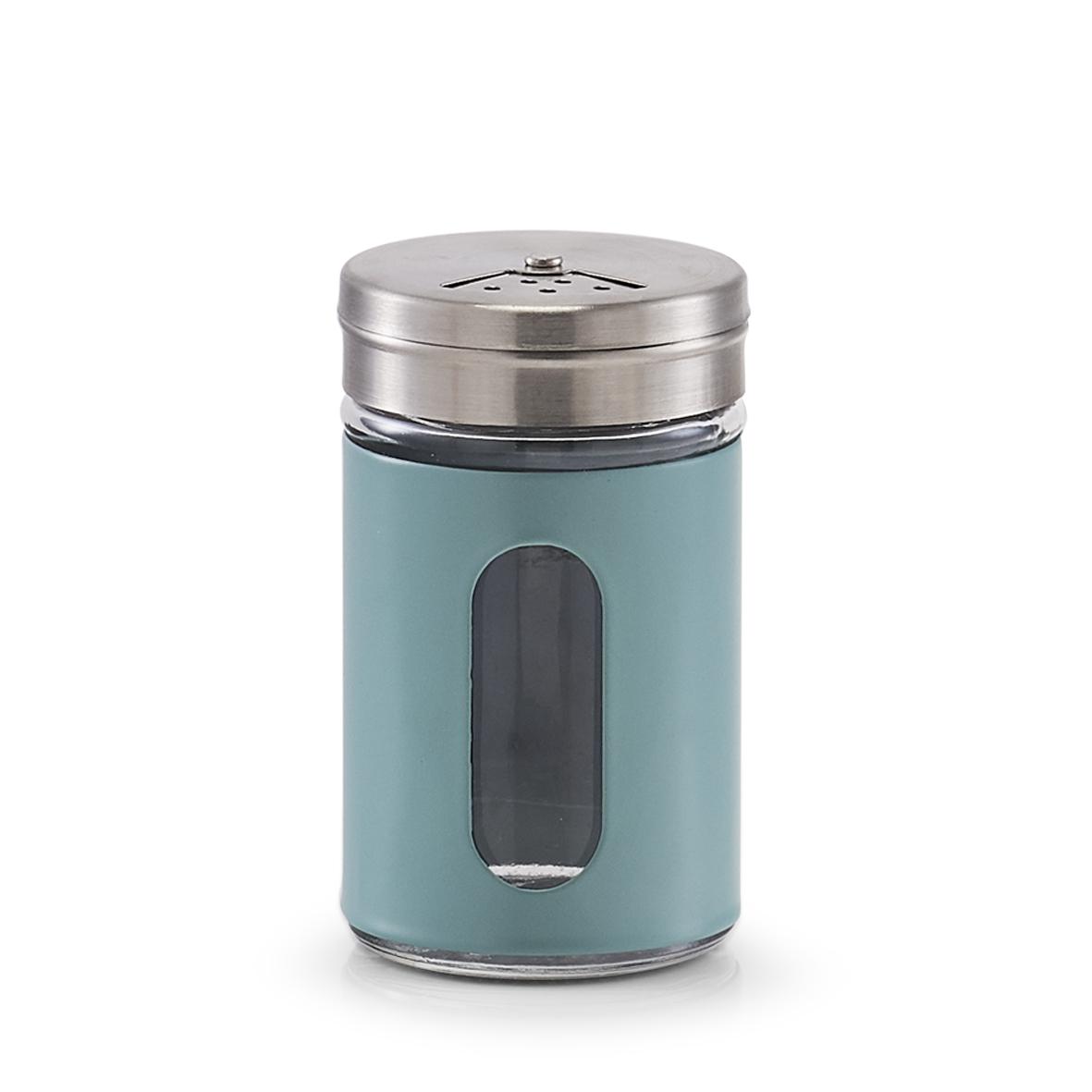 Recipient pentru condimente Visual, metal si sticla, Bleu, Ø5xH8,5 cm imagine