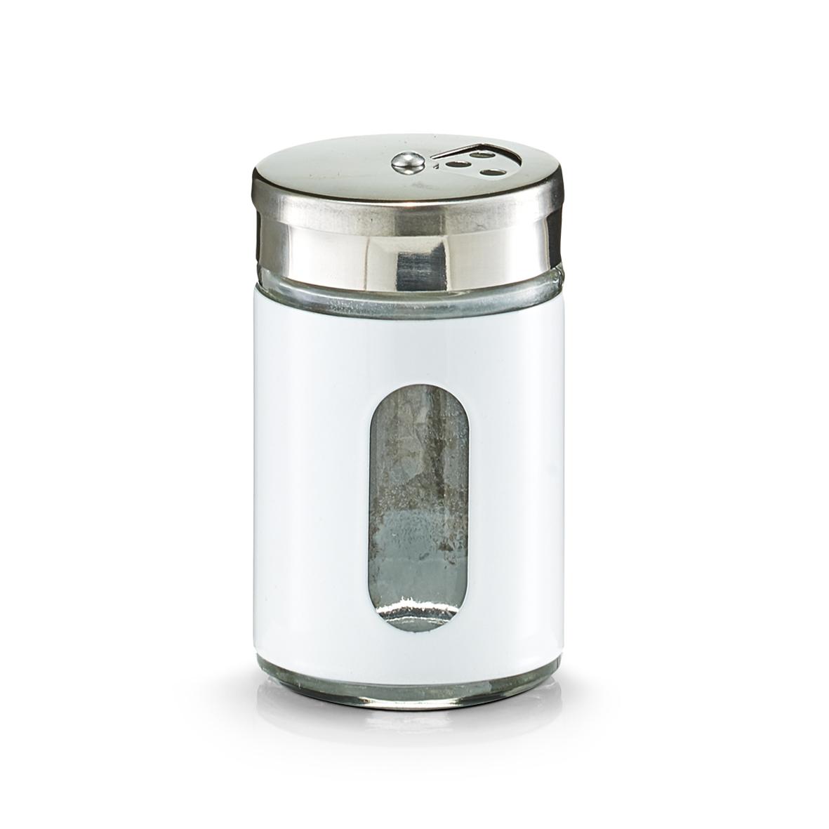 Recipient pentru condimente Visual, inox si sticla, White 90 ml, Ø 5xH8,5 cm imagine