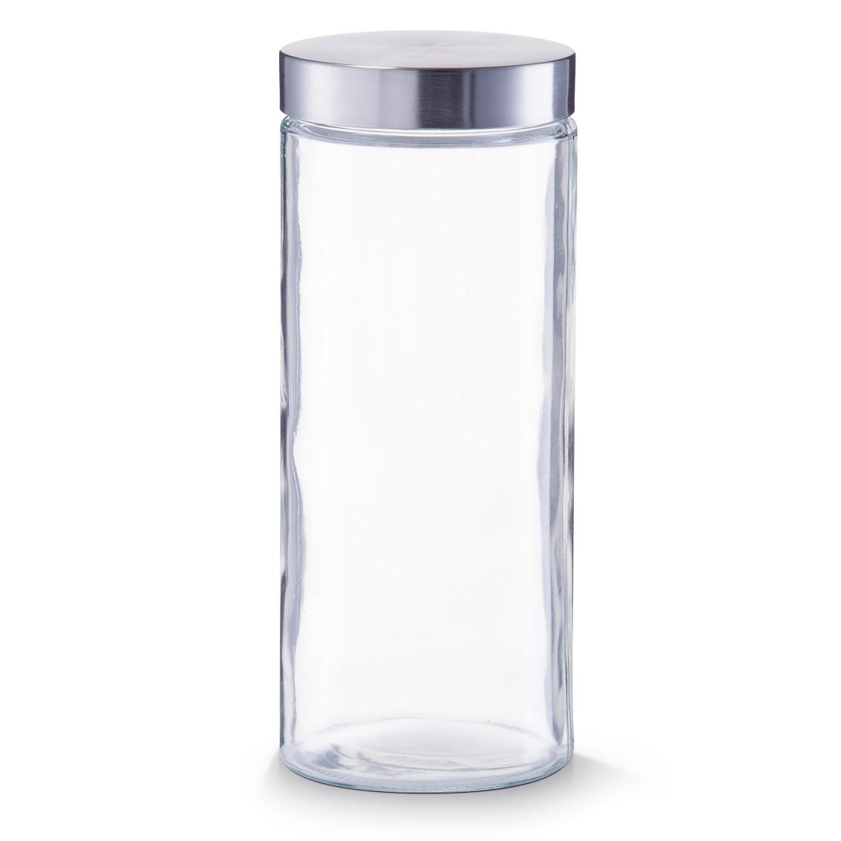 Borcan pentru depozitare, capac inox, Glass 2100 ml, Ø 11xH27 cm poza