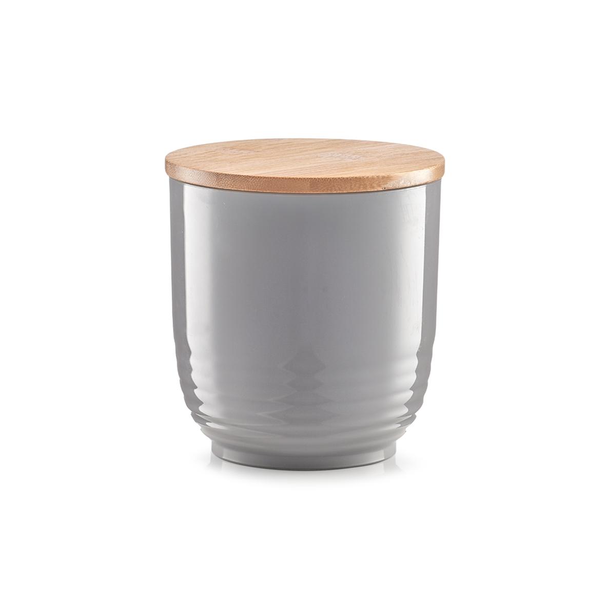 Recipient pentru depozitare cu capac din bambus, Grey Polistiren, Ø 12xH12,5 cm imagine