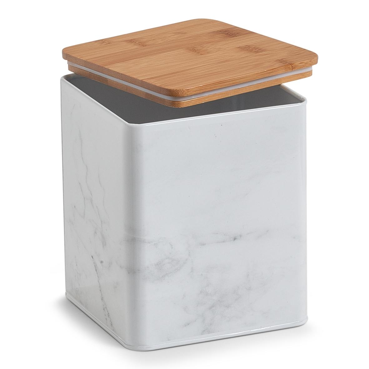Recipient pentru depozitare cu capac din bambus Marble White Metal l14xA14xH17 cm