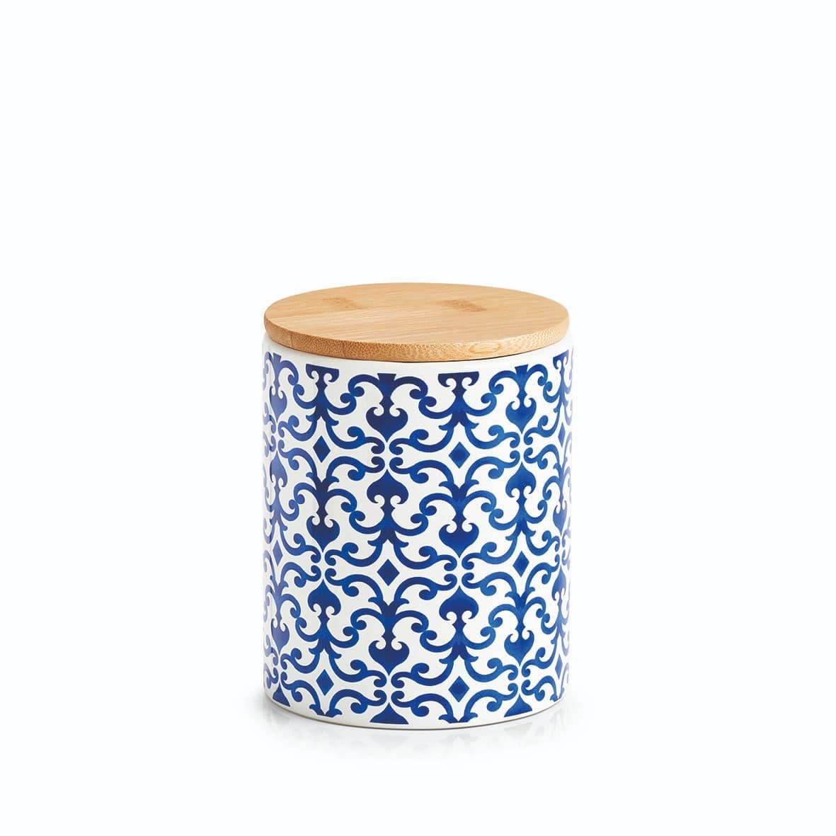 Recipient pentru depozitare cu capac, din ceramica, Morocco Small Albastru / Alb, 600 ml, Ø9,5xH12,2 cm imagine
