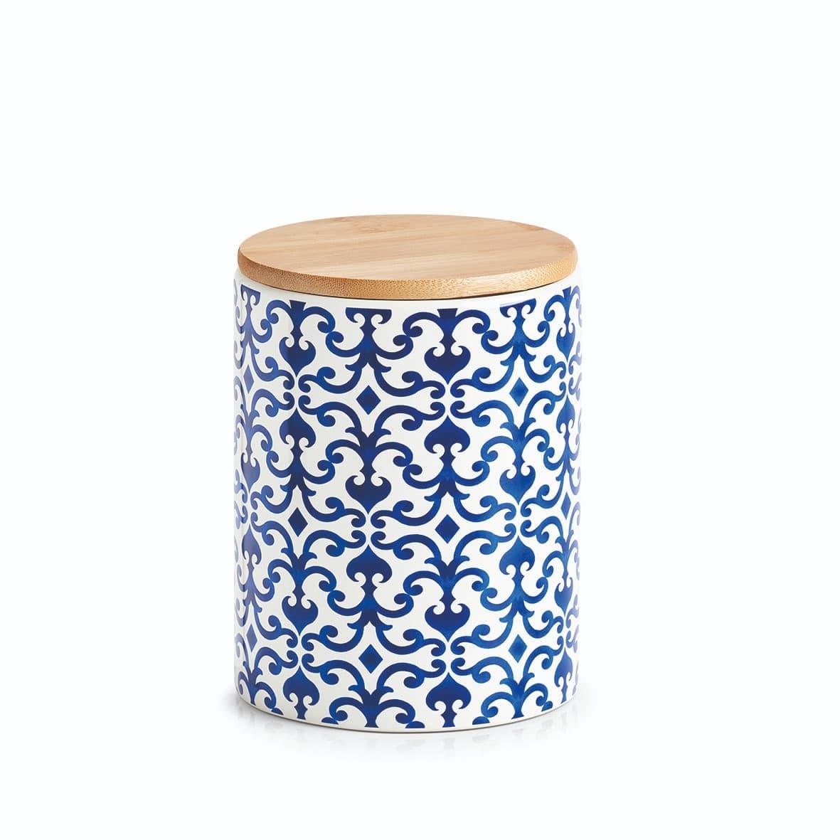 Recipient pentru depozitare cu capac, din ceramica, Morocco Medium Albastru / Alb, 900 ml, Ø11xH15,3 cm