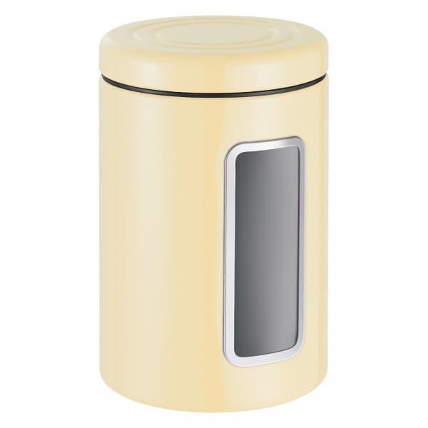Recipient pentru depozitare cu capac, din metal si plastic, Classic Line Crem, 2L, Ø12,5xH18,9 cm poza