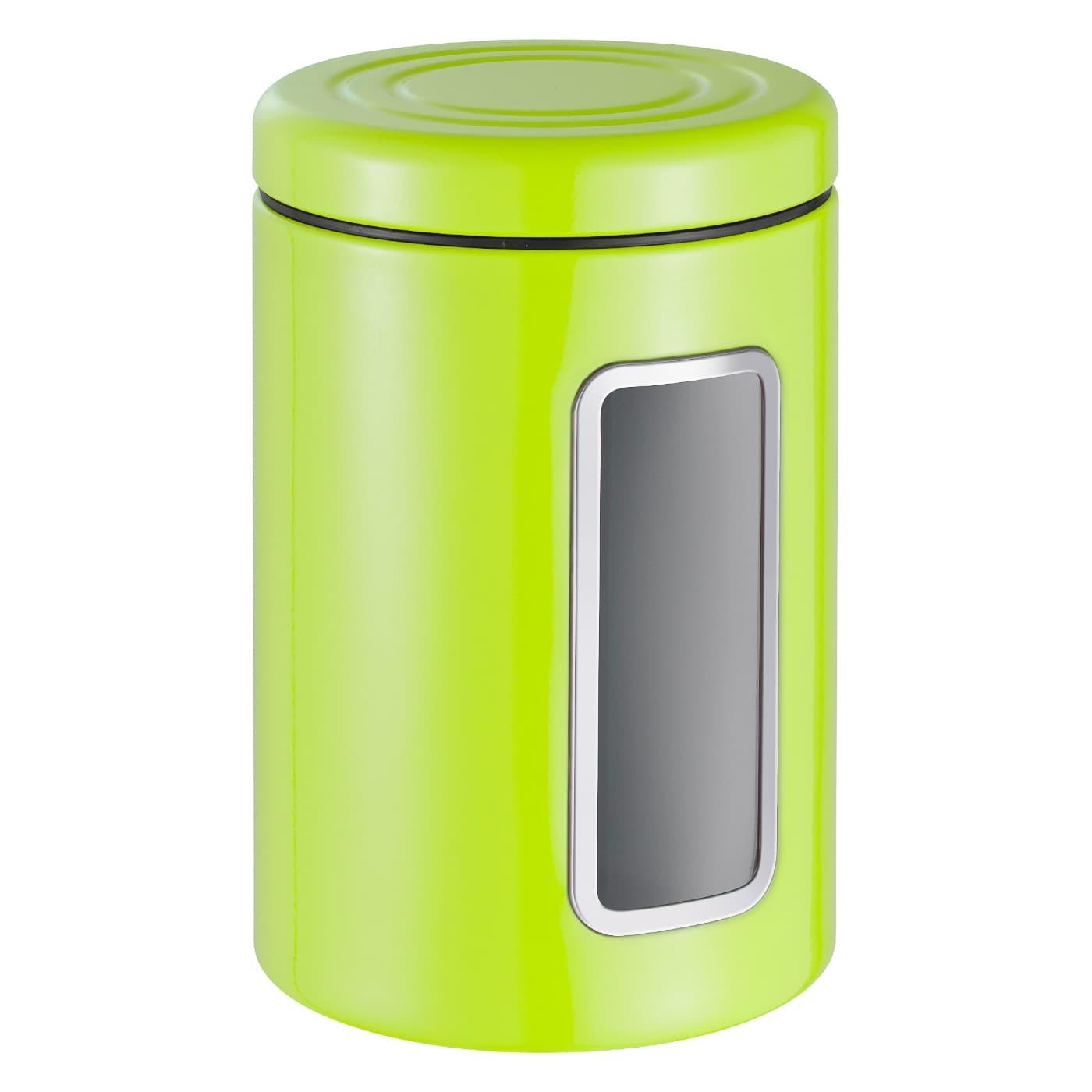 Recipient pentru depozitare cu capac, din metal si plastic, Classic Line Lime, 2L, Ø12,5xH18,9 cm