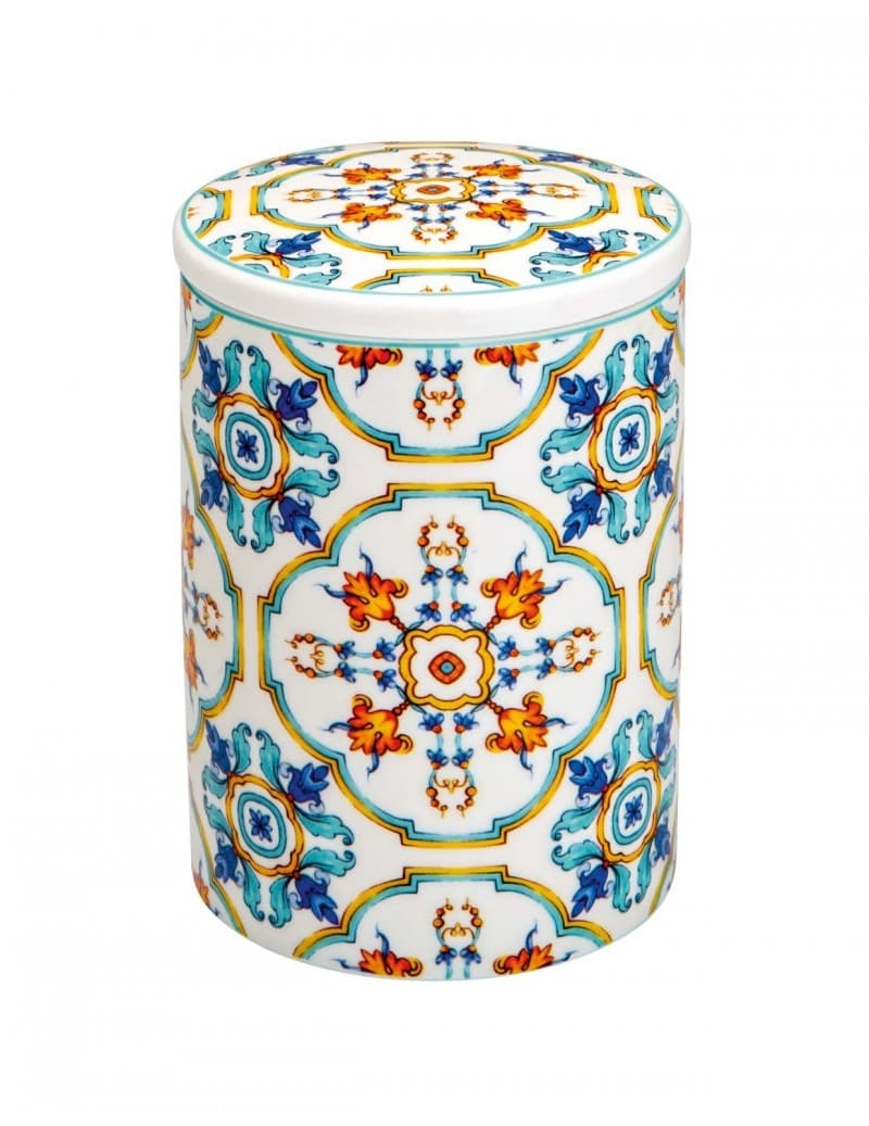 Recipient pentru depozitare cu capac, din portelan, Medicea Flower Multicolor, Ø10xH13,5 cm somproduct.ro