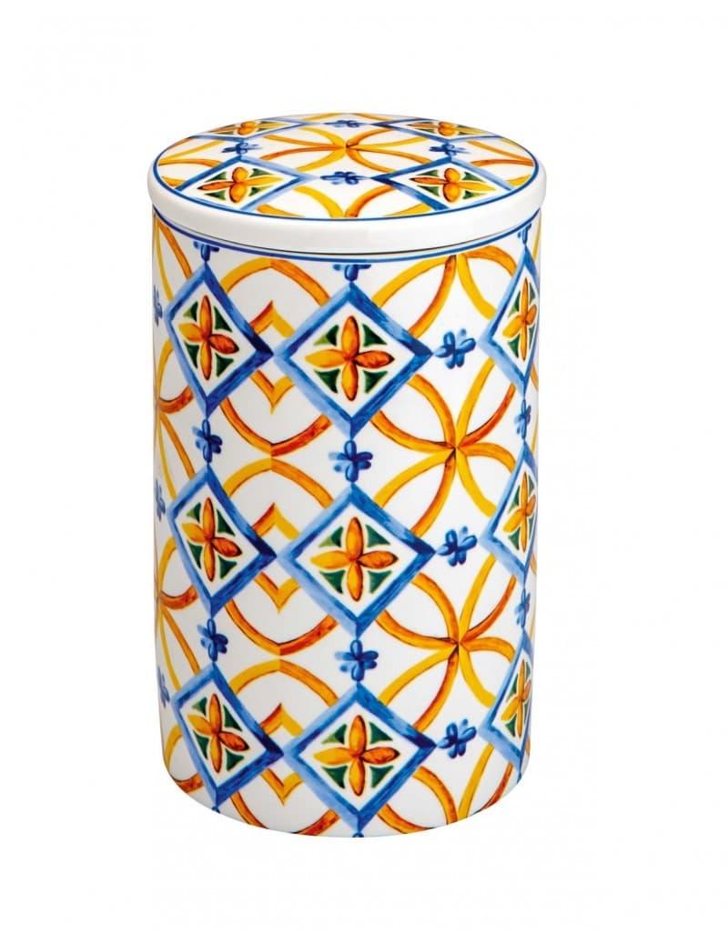 Recipient pentru depozitare cu capac, din portelan, Medicea Rings Multicolor, Ø10xH16 cm somproduct.ro
