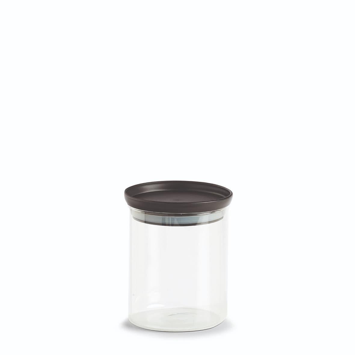 Recipient pentru depozitare cu capac etans, din sticla, Classic Medium / Negru, 650 ml, Ø10,3xH13 cm poza