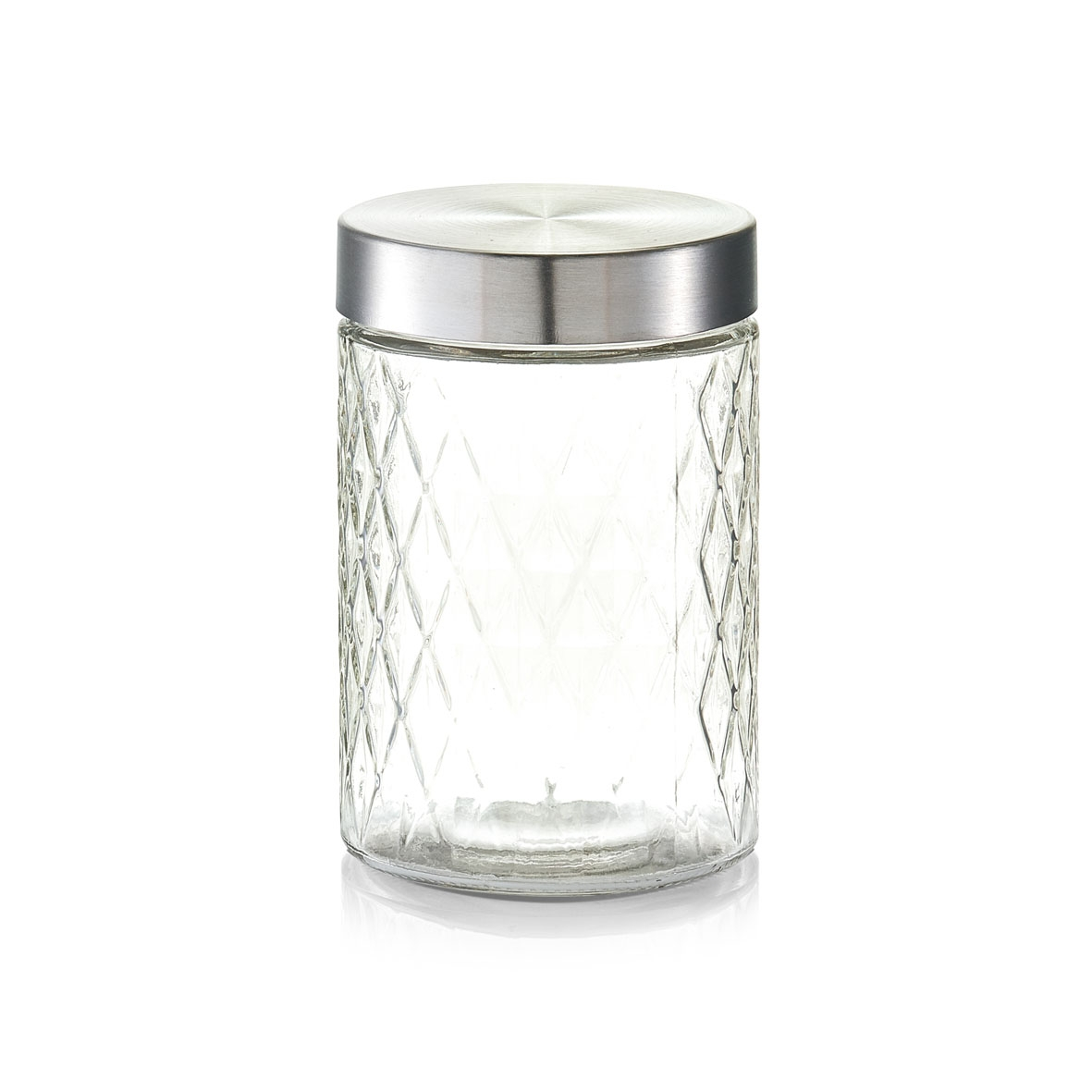 Recipient pentru depozitare cu capac metalic, Diamond I Glass, 1200 ml, Ø 11xH17 cm poza