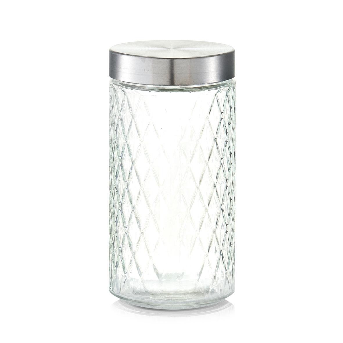 Recipient pentru depozitare cu capac metalic, Diamond II Glass, 1500 ml, Ø 11xH22 cm