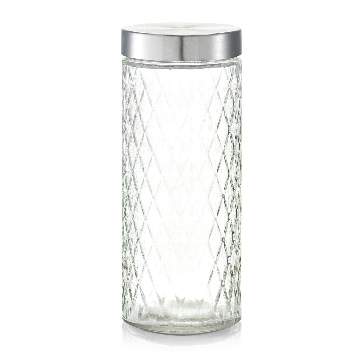 Recipient pentru depozitare cu capac metalic, Diamond III Glass, 2000 ml, Ø 11xH27,5 cm imagine