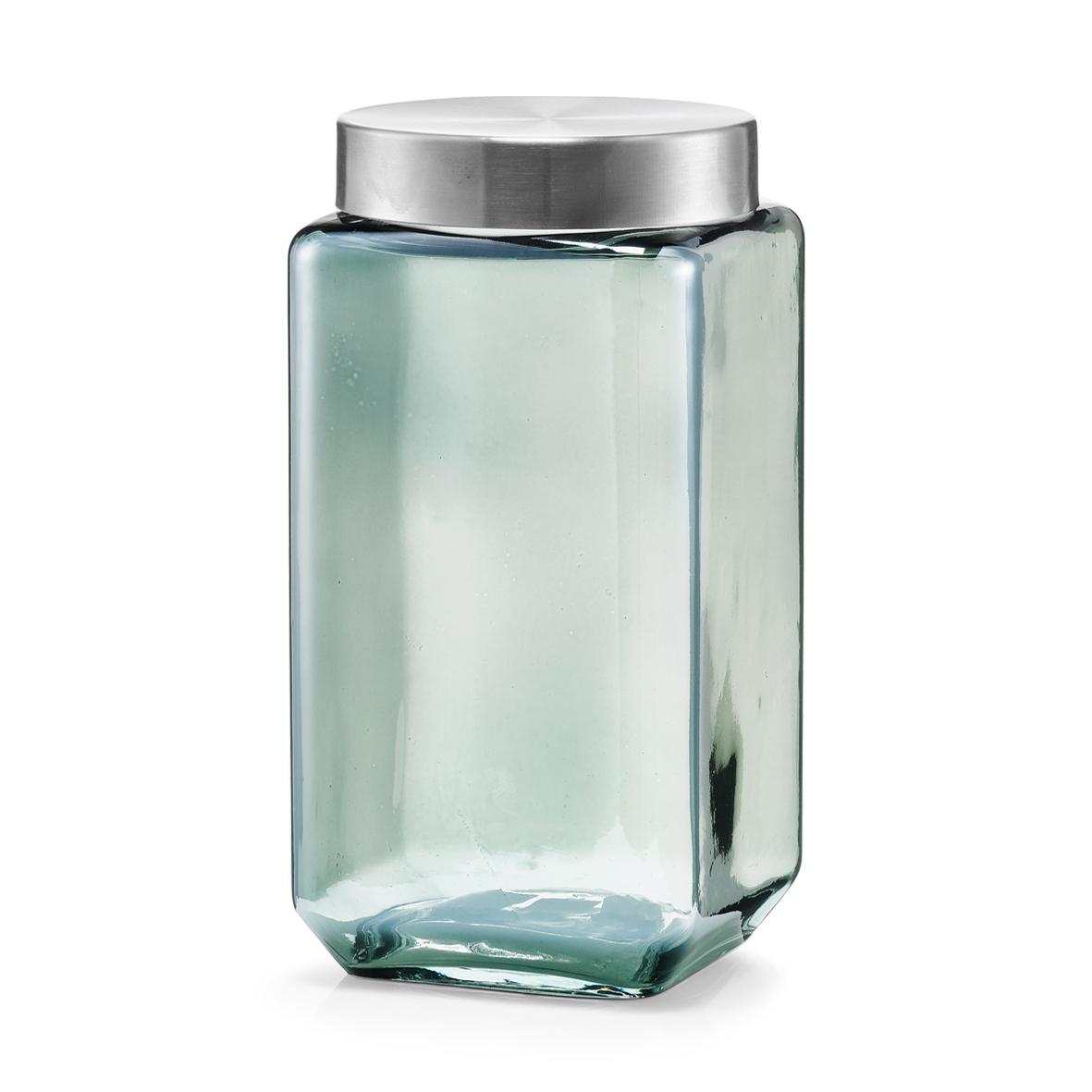 Recipient pentru depozitare cu capac metalic, Glass Blue, 2000 ml, l11xA11xH22,5 cm imagine