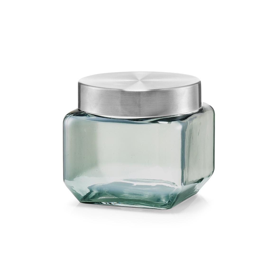 Recipient pentru depozitare cu capac metalic, Glass Blue C, 800 ml, l11xA11xH10,5 cm poza