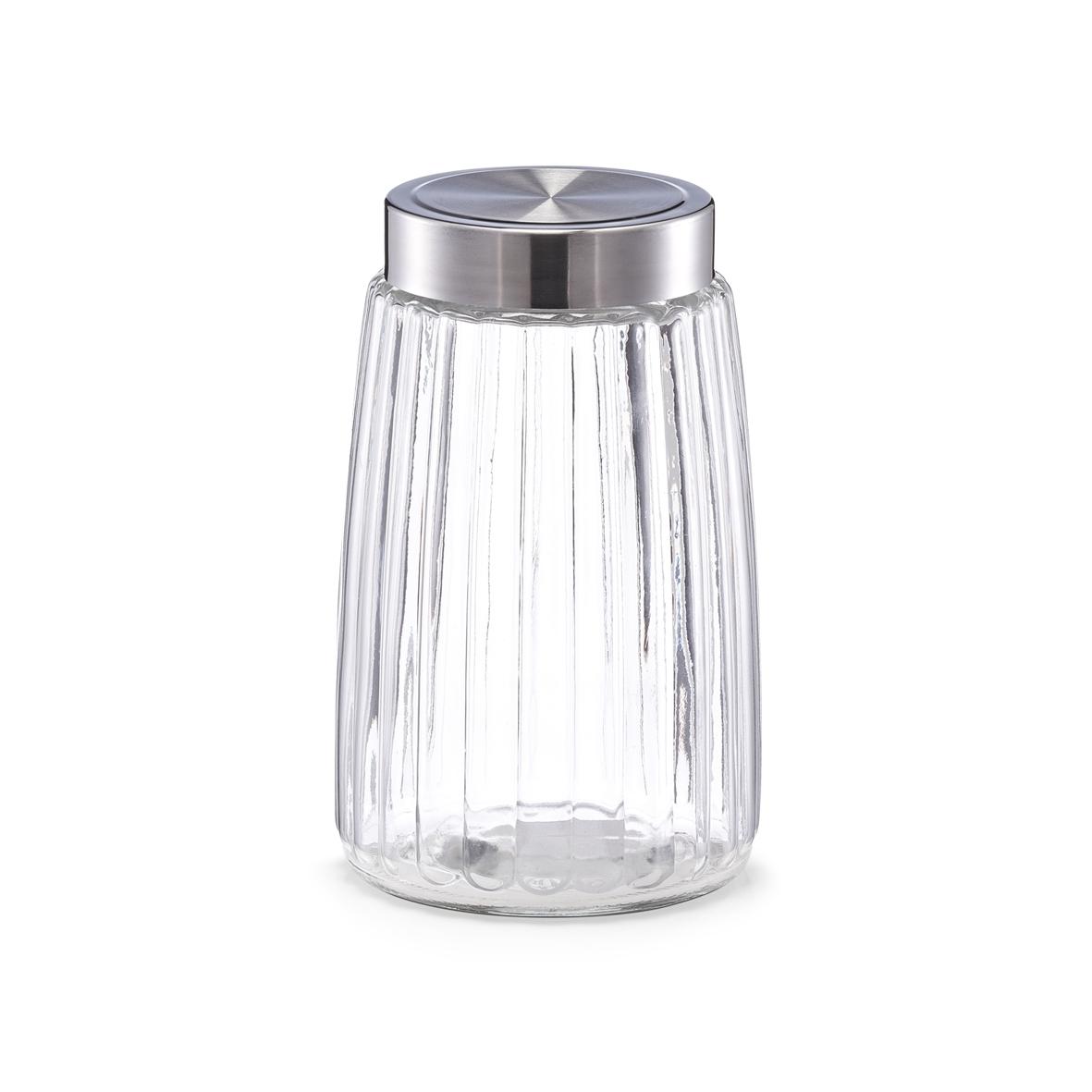 Recipient pentru depozitare cu capac metalic II Groove Glass 1750 ml Ø 125xH21 cm