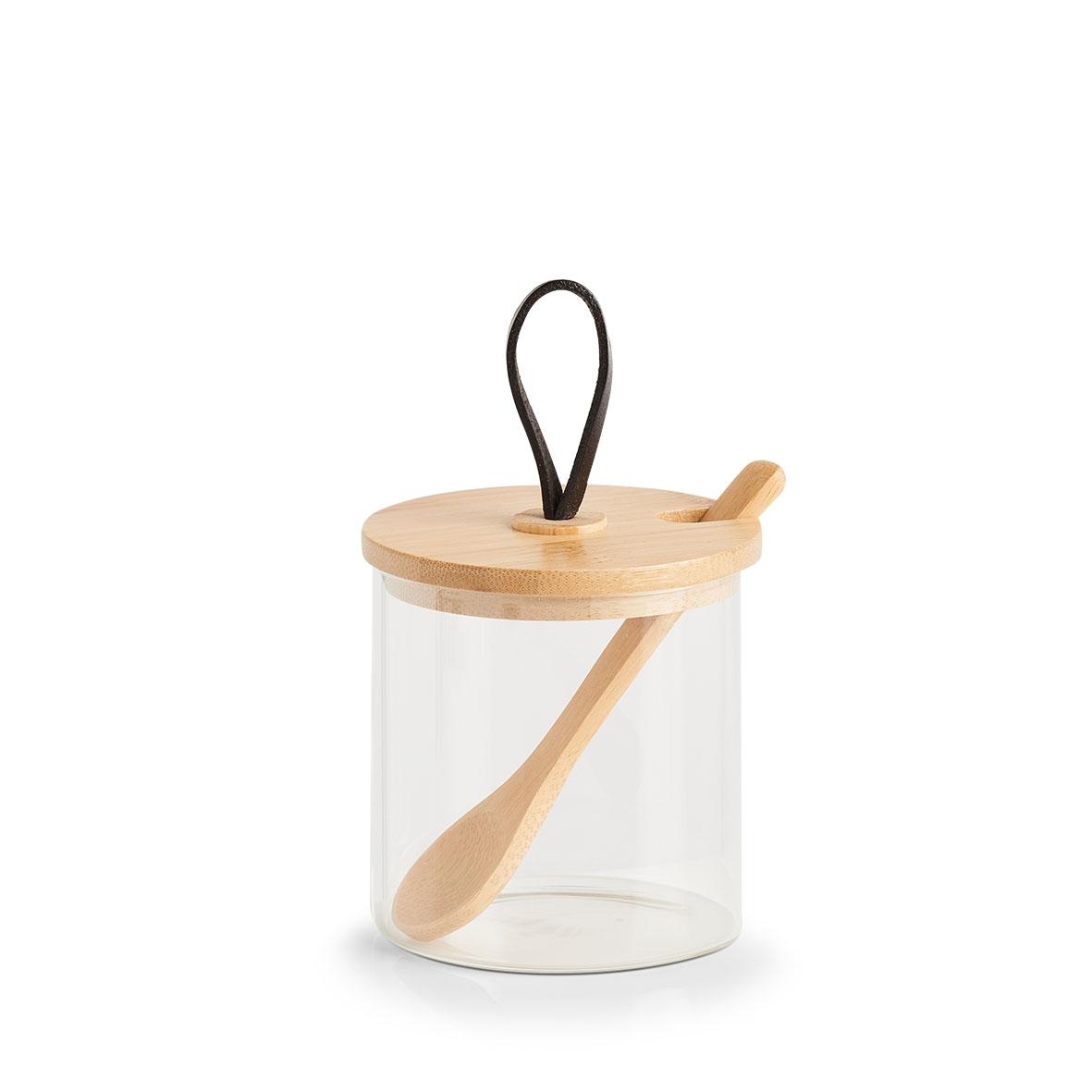 Recipient pentru depozitare din sticla, cu capac si lingura, Bamboo Natural, 320 ml, Ø8xH8,5 cm poza