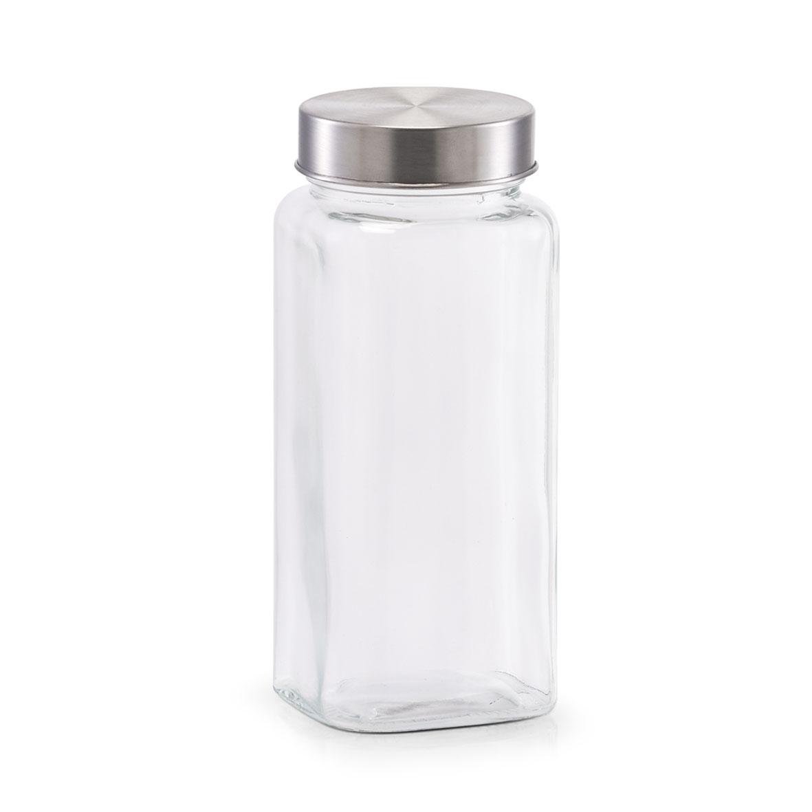 Recipient pentru depozitare din sticla Mini, capac metalic, 620 ml, Ø7,5xH17,5 cm poza