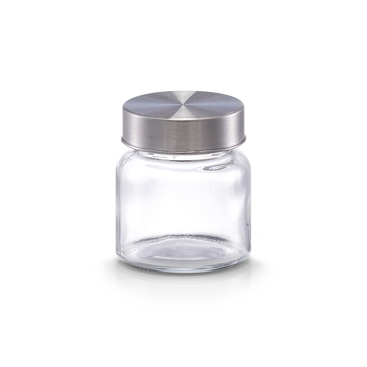 Recipient pentru depozitare din sticla Mini, capac metalic, 75 ml, Ø 5,6xH6,3 cm( 474758)