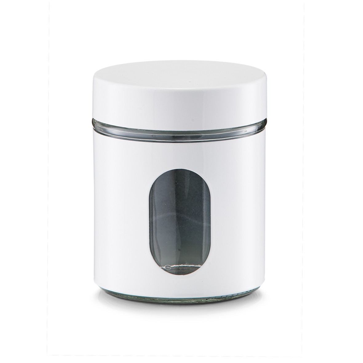 Recipient pentru depozitare Visual, metal si sticla, White 600 ml, Ø 10,2xH12,5 cm imagine