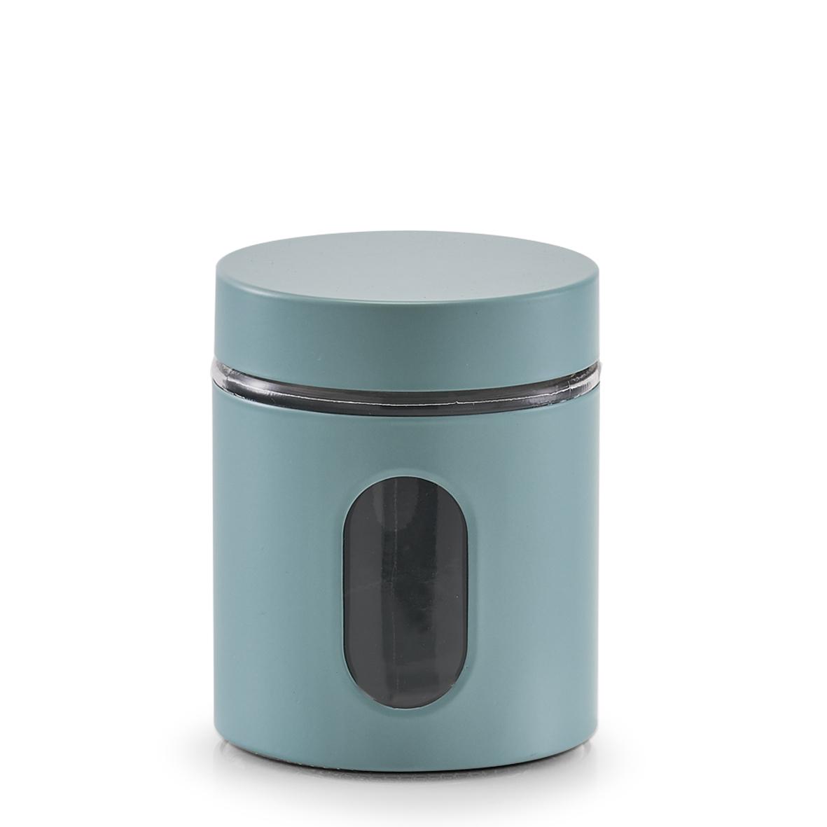 Recipient pentru depozitare Visual, metal si sticla, Bleu 600 ml, Ø10,2xH12,5 cm