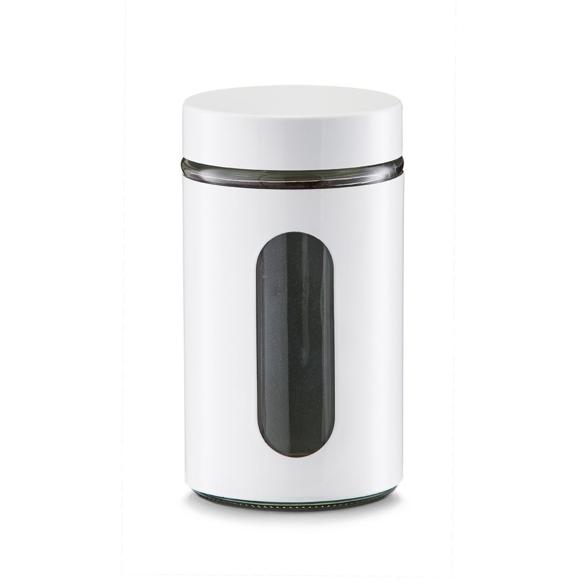 Recipient pentru depozitare Visual, metal si sticla, White 900 ml, Ø 10,2xH18 cm poza