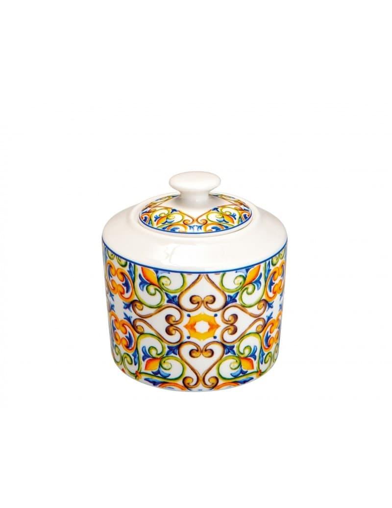 Recipient pentru zahar cu capac din portelan, Medicea Multicolor, Ø10xH9,5 cm somproduct.ro