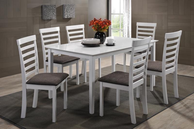 Set masa din MDF si furnir Arthur White + 6 scaune Loft White/Brown L150xl90xH74cm