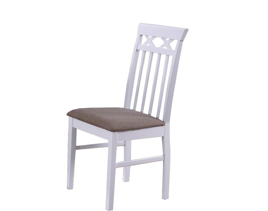 Scaun din lemn cu sezut tapitat cu stofa Colette White / Beige l435xA385xH945 cm