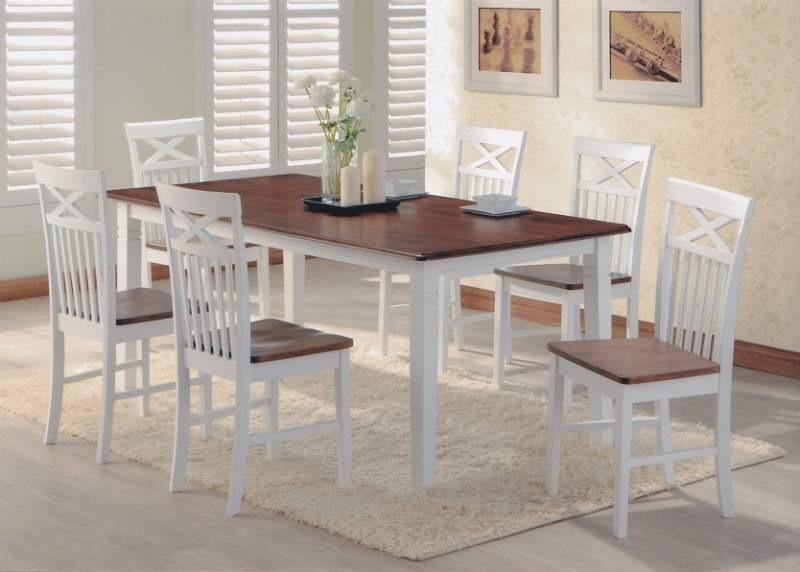 Set masa din MDF si furnir Arthur White / Dirty Oak + 6 scaune Concord White / Dirty Oak L150xl90xH74 cm