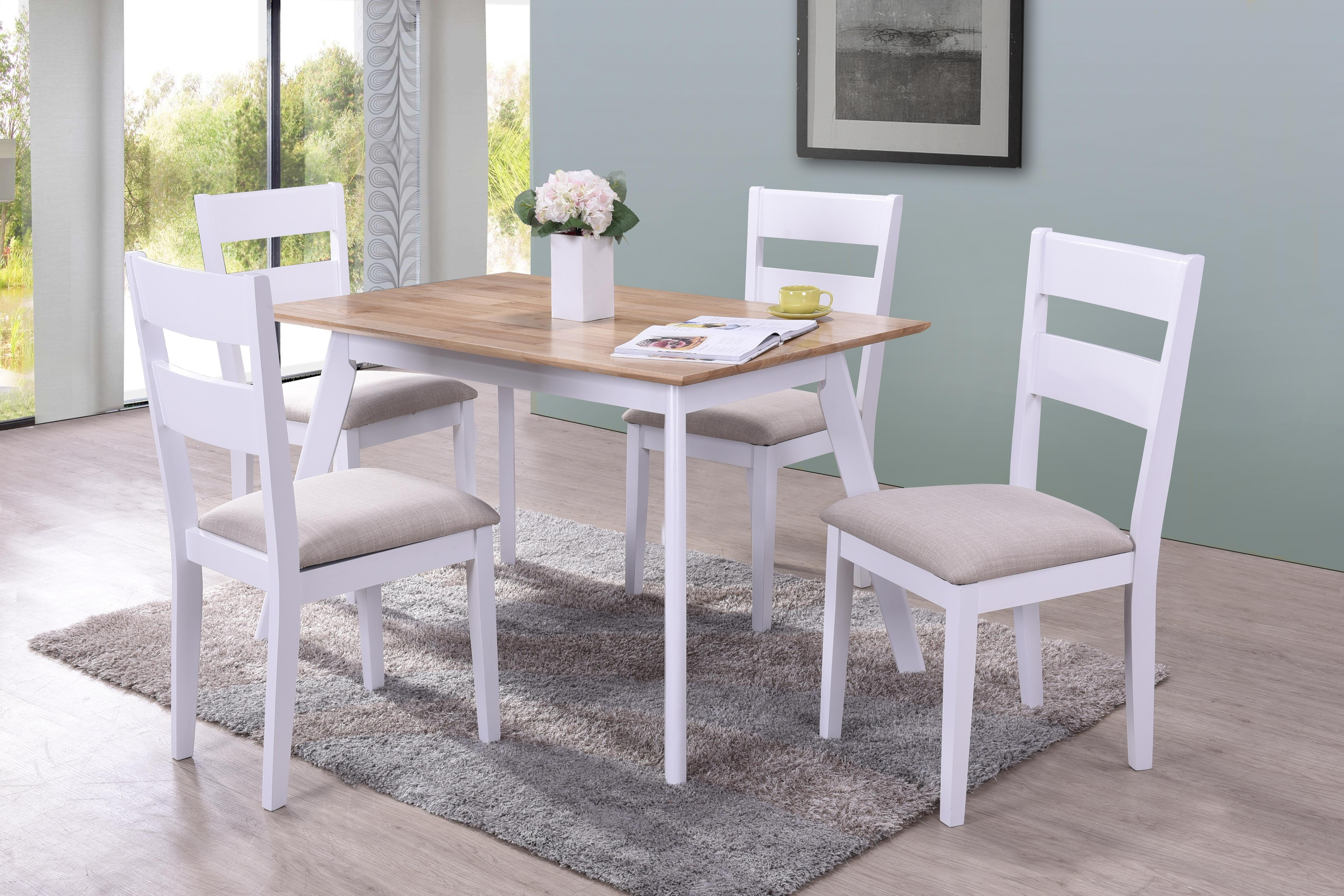 Set masa din MDF si furnir Norah White + 4 scaune Norah White L120xl75xH74cm