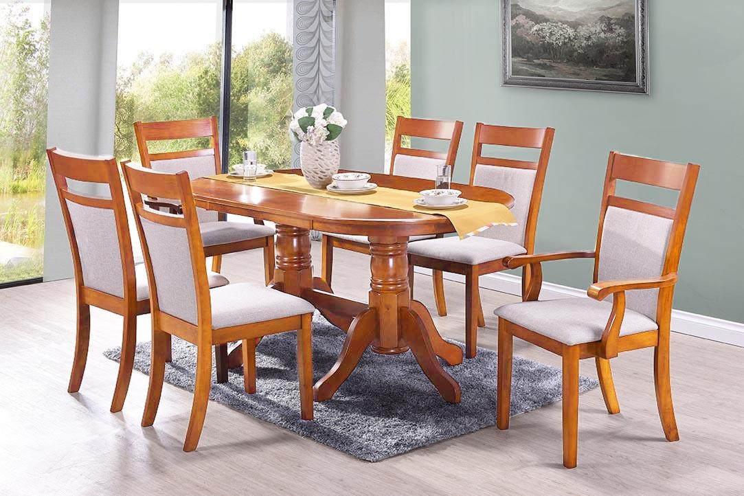 Set masa din MDF si furnir Damia Red Oak + 4 scaune Damia Red Oak + 2 scaune Victoria Red Oak L150xl90xH77 cm
