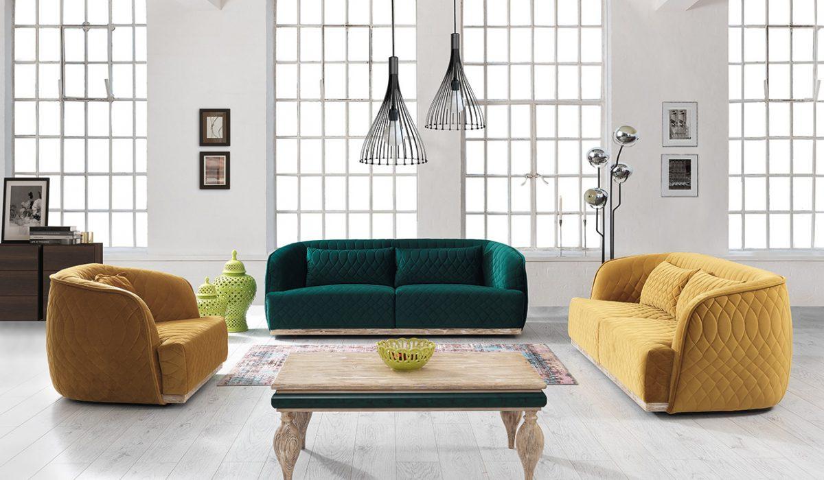 Canapea fixa 3 locuri Rios Green